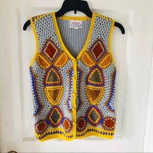 Vintage knit crochet leather patchwork vest size L